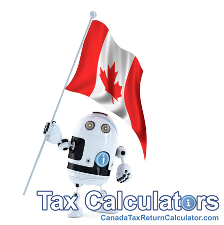 This image shows a picture of the iCalculator Robot holding a Flag of Canada. This image represents the Canadian Tax Return Calculator
